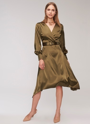 People By Fabrika Saten Kemerli Elbise Yeşil